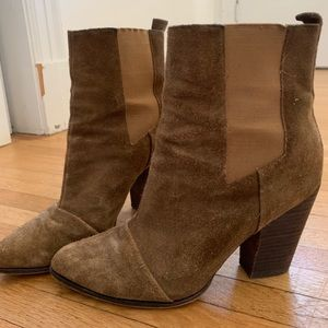 Suede stacked booties